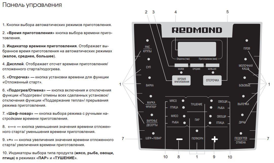 Redmond rmc m110 инструкция