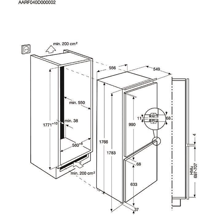 Встраиваемый холодильник Electrolux