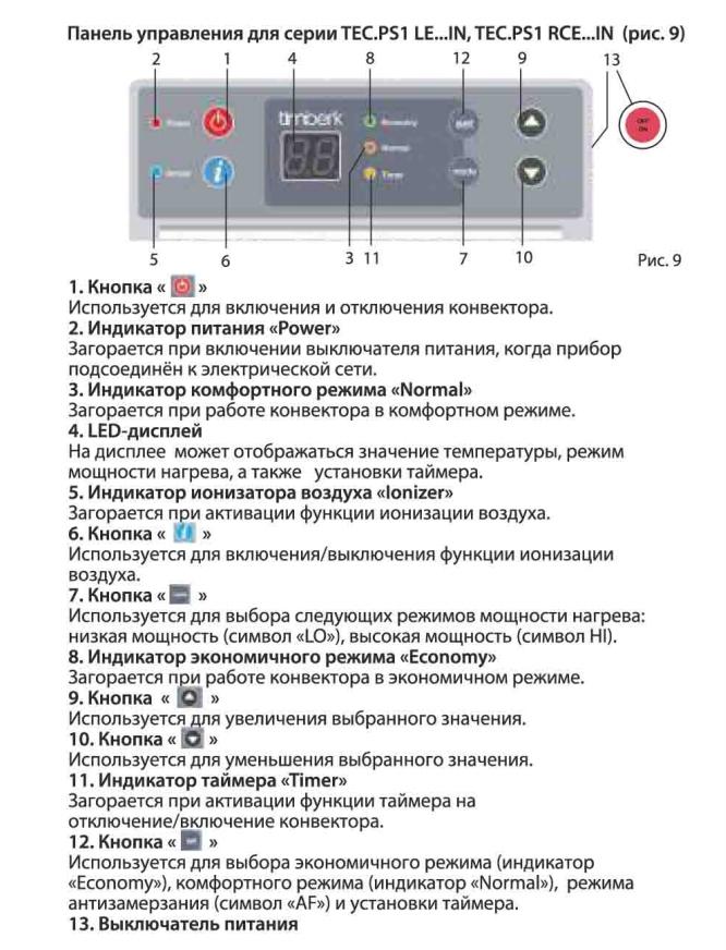 Инструкции к обогревателям