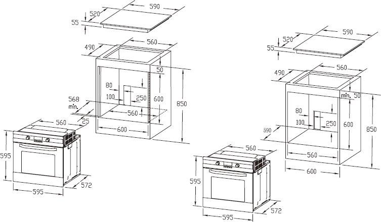 Схема встройки духового шкафа midea
