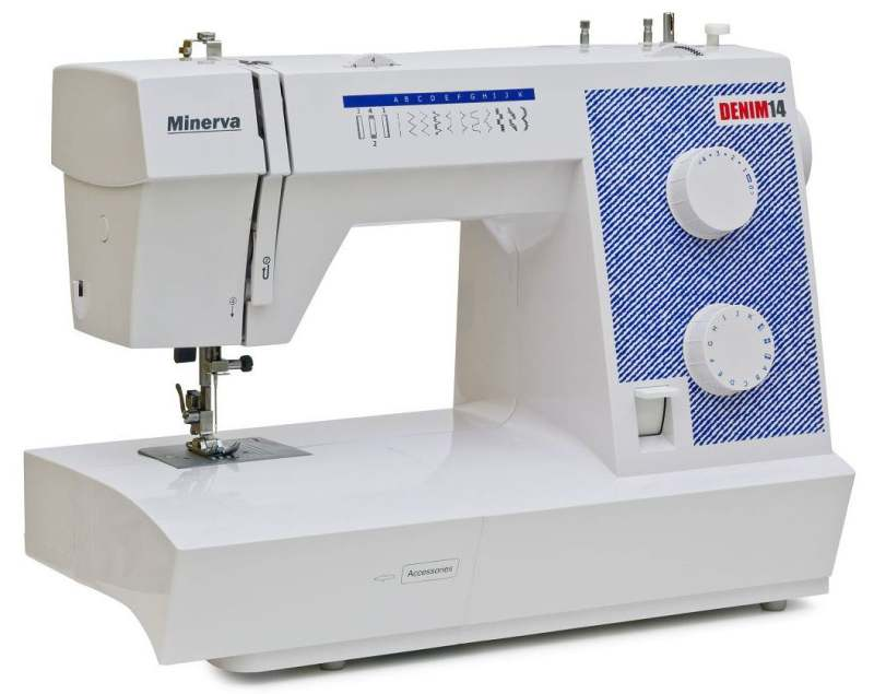 MINERVA Denim 14 - простая в управлении швейная машинка с набором основных строчек.