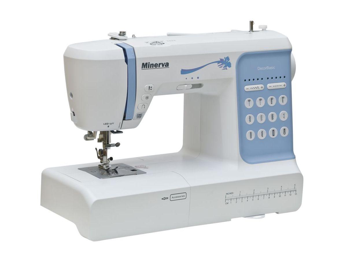 Швейная машина компьютеризированная Minerva DecorBasic выполняет 12 видов строчек (декоративные, рабочие строчки, петельные швы, оверлочные строчки)