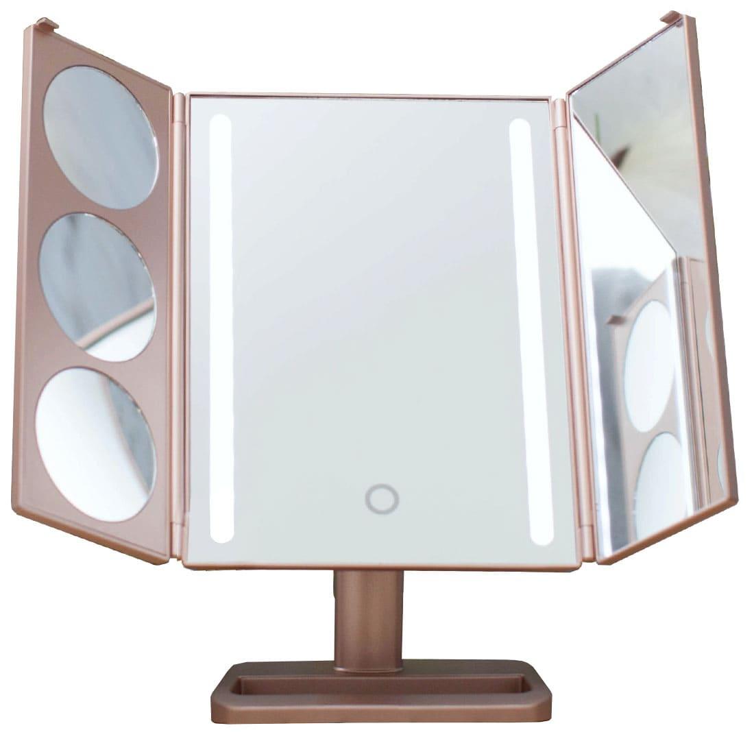 Gess uLike Gold - настольное складное зеркало для макияжа с подсветкой из 2 светодиодных полосок.