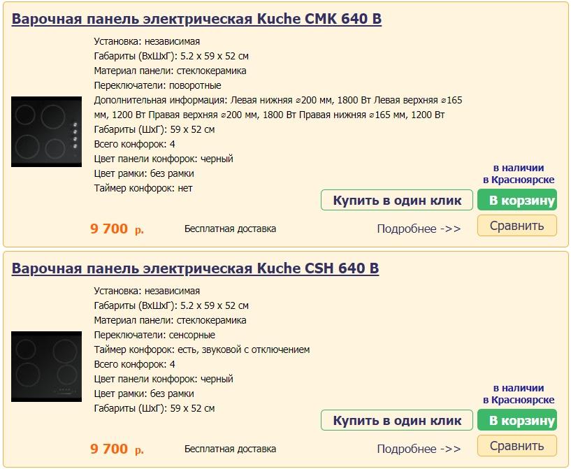 Варочные электрические панели Kuche в Красноярске
